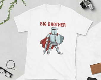 Knight Big Brother Shirt, Strong Big Brother Tee Shirt, Personalized Name Matching TShirt, Unisex Kids Toddler Baby Warrior Theme Shirt