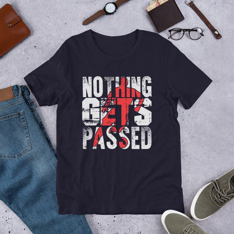 Soccer Player Shirt Nothing Gets Passed Vintage Sports Tee Navy