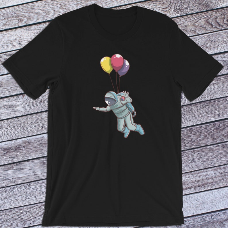 Floating Astronaut Shirt Balloon Astronaut Tee Outer Space Black