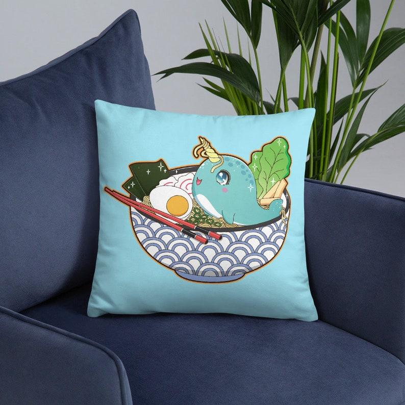 Narwhal Pillow Kawaii Ramen Noodle Bowl Pillow Blue Throw 18x18