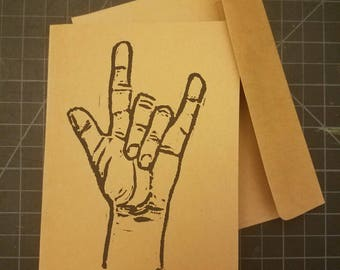 "Set of 5 Hand-printed Cards - ASL ""I love you."""
