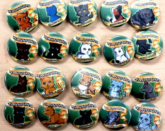 Warriors Cats button pins - 1.25 OR 2.25 -New recently added!