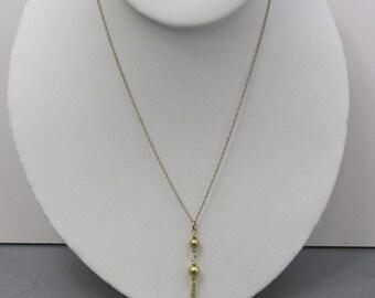 SALE-14k soild gold vintage tassel/ lariat necklace