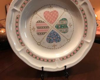 Heartwarming Pattern by Tienshan Set of 8 Dinner Plates