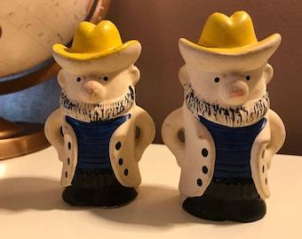 Vintage Cowboy Figurine Salt & Pepper Shaker Set. Blue Vest and Yellow Cowboy Hat.