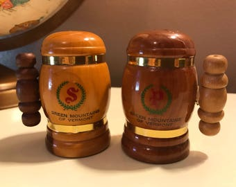 Vintage Wooden Salt & Peoper Shaker Set from the Green Mountains of Vermont