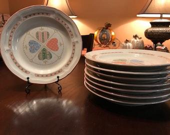 Heartwarming Pattern By Tienshan Set of 8 Salad Plates