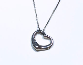 3aca7b5ff Vintage 1990s TIFFANY & CO Sterling Silver Floating Open Heart Pendant  Necklace