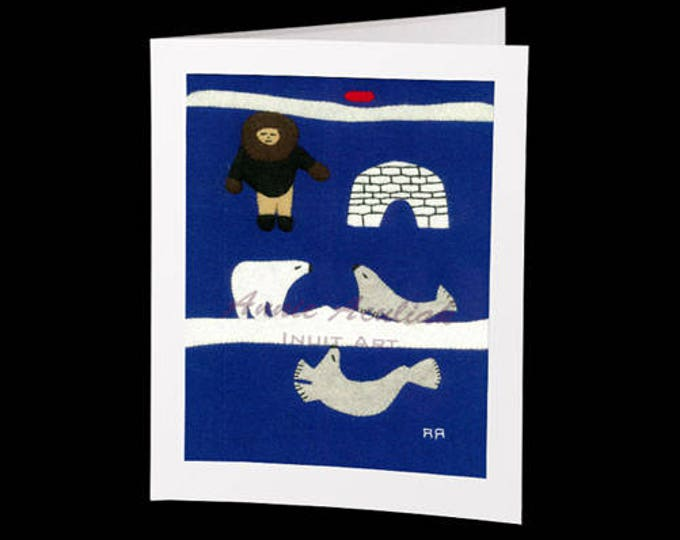 "Inuit Greeting Card #14 ""Annie's Friends"" by Annie Aculiak"