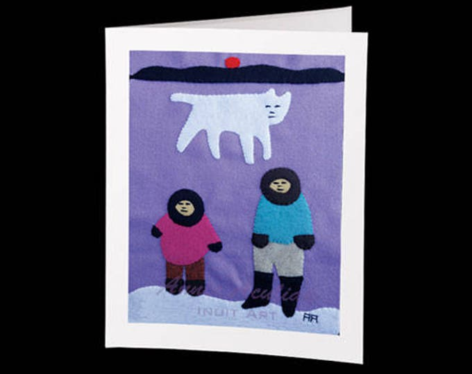 "Eskimo Greeting Card #30 ""Noah Aculiak and his wolf with Annie at Camp"" by Annie Aculiak"