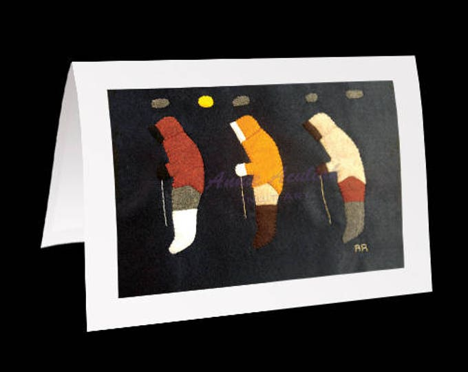 "Eskimo Greeting Card #29 ""Going Home, Testing the Ice in the Spring"" by Annie Aculiak"