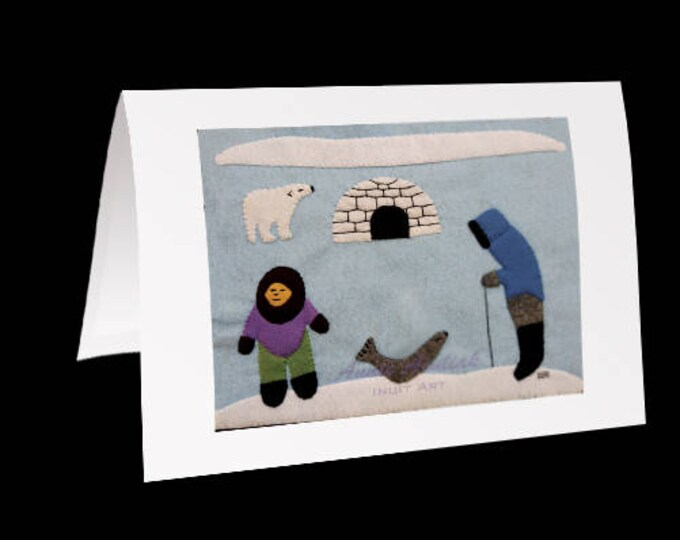 "Eskimo Greeting Card #26 ""Annie's brother Daniel and his wife Mary camping in Winter"" by Annie Aculiak"