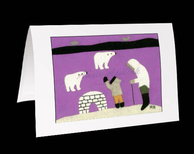 "Eskimo Greeting Card #15 ""Learning to build an Igloo"" Annie Aculiak"