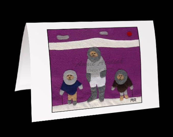 "Eskimo Greeting Card #8 ""Family Outing"" by Annie Aculiak"