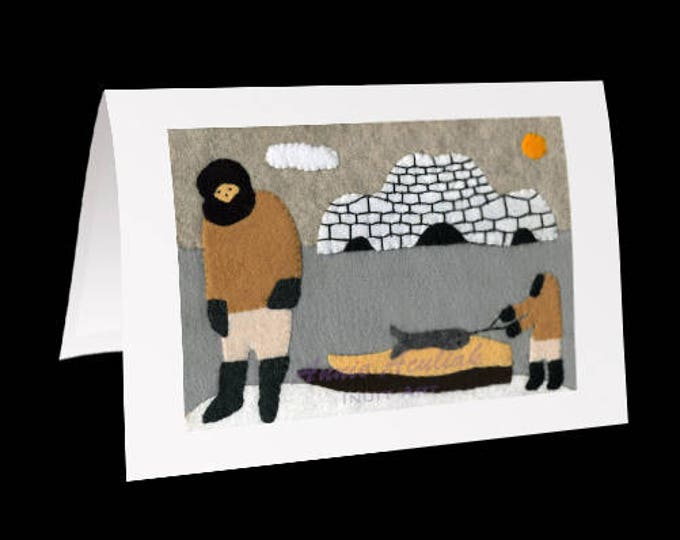 "Inuit Greeting Card #24 ""My Father and Me"" by Annie Aculiak"