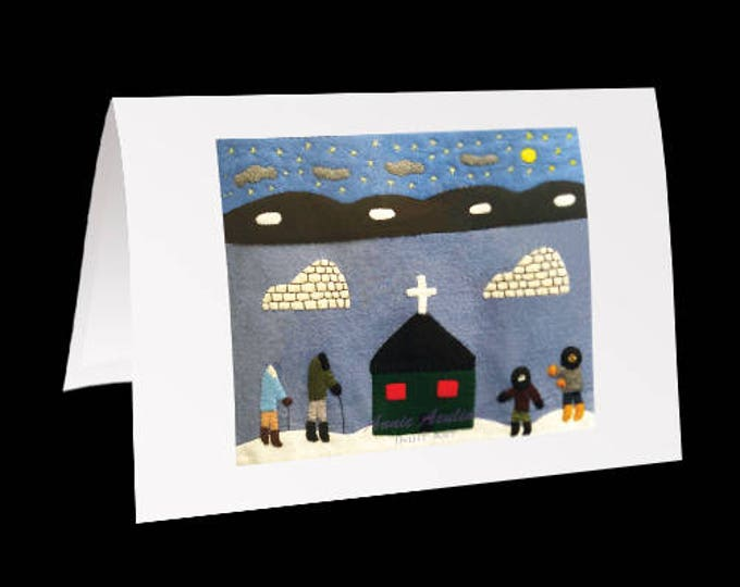 "Inuit Greeting Card #25 ""A Church on the Tundra"" by Annie Aculiak"