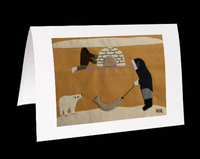 "Eskimo Greeting Card #23 ""Making Camp for the Night"" by Annie Aculiak"
