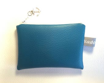 Wallet with faux peacock blue