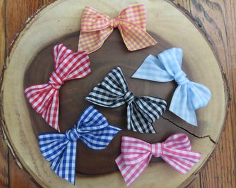 Gingham Bow Hair Clip Your Choice of Color