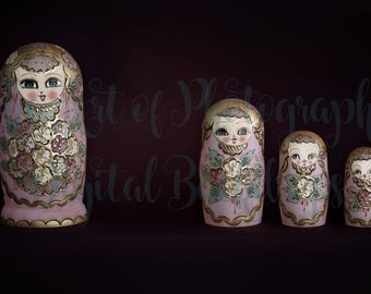 Pack of 5 Newborn Baby Digital Backdrop / Background Matryoshka Dolls / Russian Nesting Dolls Multi Color