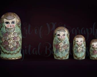 Newborn Baby Digital Background / Backdrop Matryoshka Dolls / Russian Nesting Dolls Green