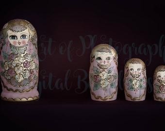 Newborn Baby Digital Background / Backdrop Matryoshka Dolls / Russian Nesting Dolls Pink and Gold