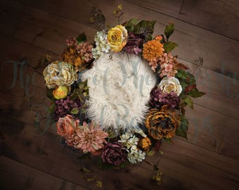 Fall Digital Newborn Flower Backdrop
