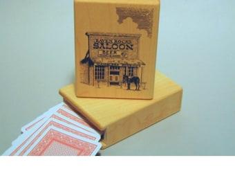 Wood gambler playing card box