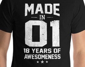 18th Birthday Shirt Gift Eighteenth 18 Year Old Girl Boy 2001