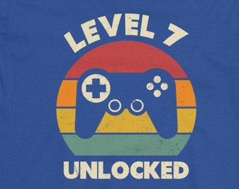7th Birthday Shirt Boy Seventh 7 Years Old Gaming Gift Level Unlocked Seven Year Gamer
