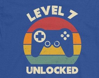 7th Birthday Shirt Boy Seventh 7 Years Old Gaming Gift Level Unlocked Seven Year Gamer