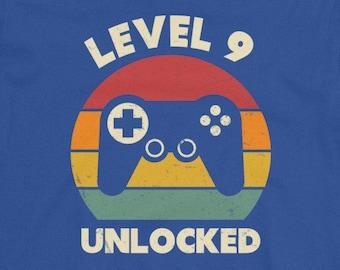9th Birthday Shirt Nine Year Old 9 Years Video Game Ninth Boy Level Unlocked Gamer