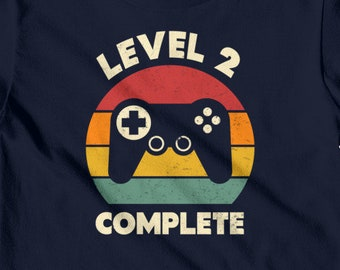 2nd Birthday Shirt Level 2 Complete Video Game Years Old Im Two Boy Gaming