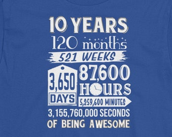 10th Birthday Shirt Countdown Of Being Awesome Tenth 10 Years Old Boy Girl Party Outfit