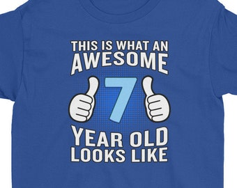 Seventh Birthday Shirt Boy 7th 7 Year Old Seven Gift Years Of Awesome