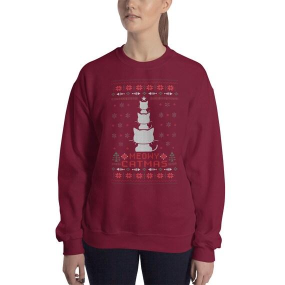 Meowy Christmas Sweater.Meowy Christmas Ugly Christmas Sweater Funny Cat Christmas Tree Ugly Sweater Party Cat Lover Sweater Cats Christmas Gift Merry Catmas