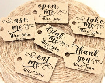 small personalised wedding thank you tags eat me