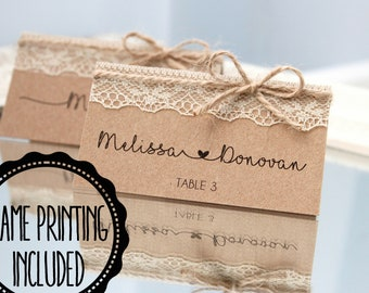 50 Wedding Rustic Cottage Place Name Setting Cards