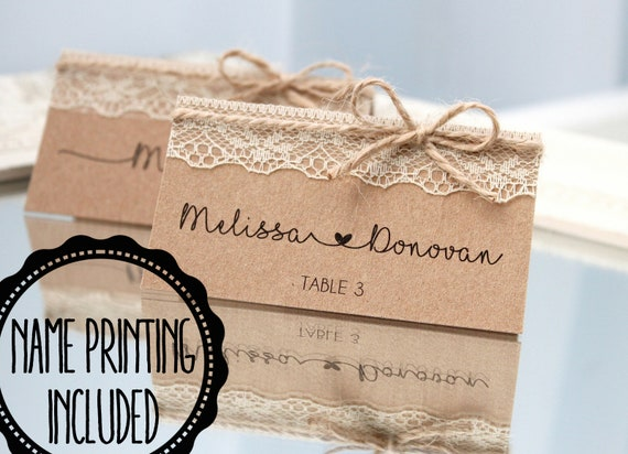 Rustic Place Cards Rustic Wedding Place Cards Country Etsy