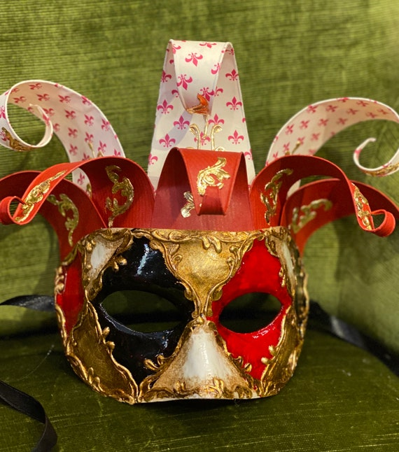 Venetian Mask Colombina Lusso Handmade in Cartapesta