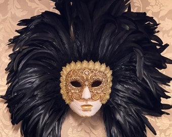 Venetian Mask, Feather Face, Lace and Swarovski Crystals, Carnival Mask, Halloween Mask