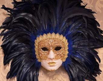 Venetian Mask, Feather Face Carnival Mask, Halloween Mask