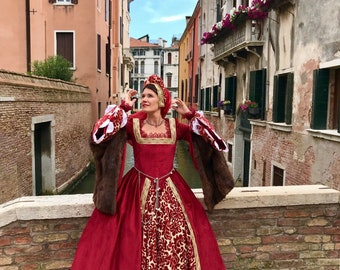 Historical dress, reproduction renaissance period, handmade