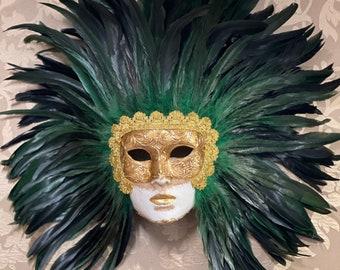 Venetian Mask, Green Feather Face, Carnival Mask, Original Mask, Halloween Mask
