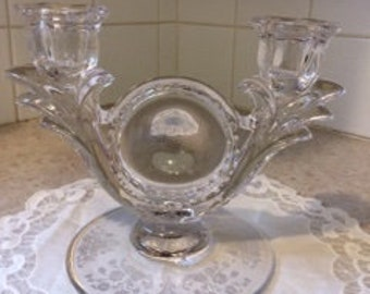 """Vintage Clear Glass Double Candlestick Holder with Floral Etching,  5"""" Candelabra"""