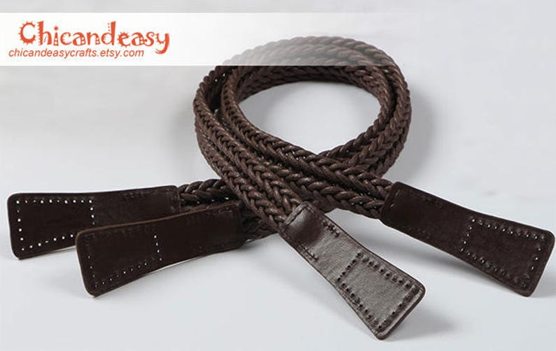 A pair of dark brown purse handle PU leather strap for Bag Braided Leather Strap Handles handbag handle CAE030