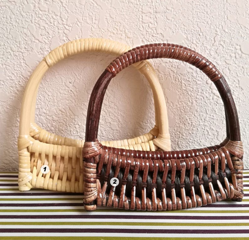 A pair of 15cm Bamboo Handles for Bag Wooden Handcraft Material for Handbag Making CAE1097