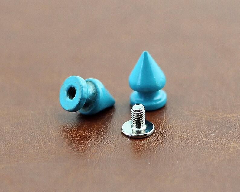 PACK of 10 Metal Spikes Blue Bullet Rivets Studs Leathe