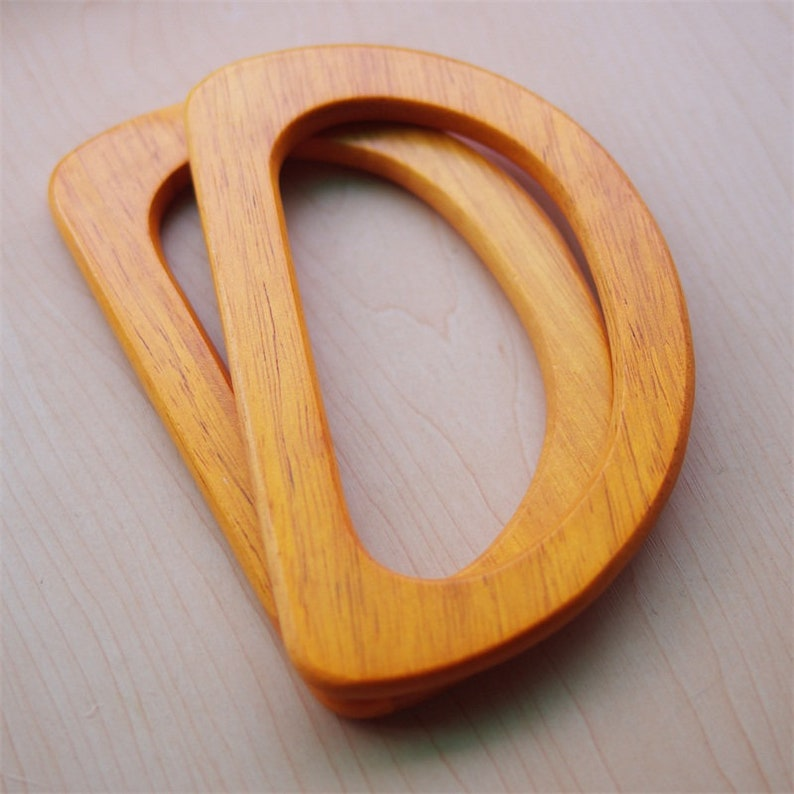 A pair of Oval Wooden Handles for Bag Handcraft Material for Handbag Making CAE1508