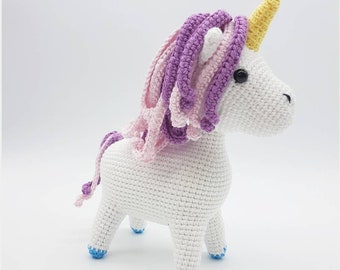 MADE TO ORDER: Amigurumi unicorn plushie, fantasy animal, stuffed toy